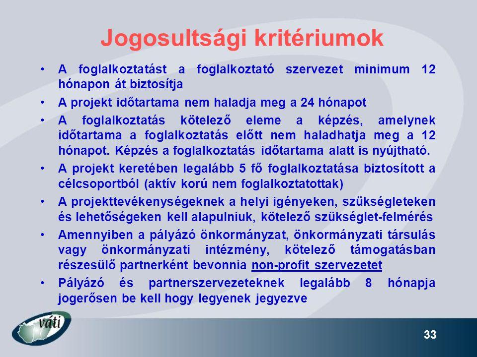 33 Jogosultsági kritériumok •A foglalkoztatást a foglalkoztató szervezet minimum 12 hónapon át biztosítja •A projekt időtartama nem haladja meg a 24 h