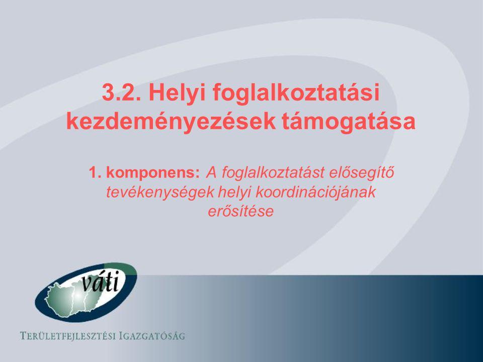 3.2. Helyi foglalkoztatási kezdeményezések támogatása 1. komponens: A foglalkoztatást elősegítő tevékenységek helyi koordinációjának erősítése