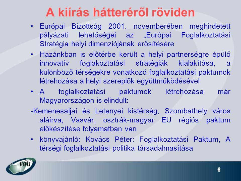 """6 A kiírás hátteréről röviden •Európai Bizottság 2001. novemberében meghirdetett pályázati lehetőségei az """"Európai Foglalkoztatási Stratégia helyi dim"""