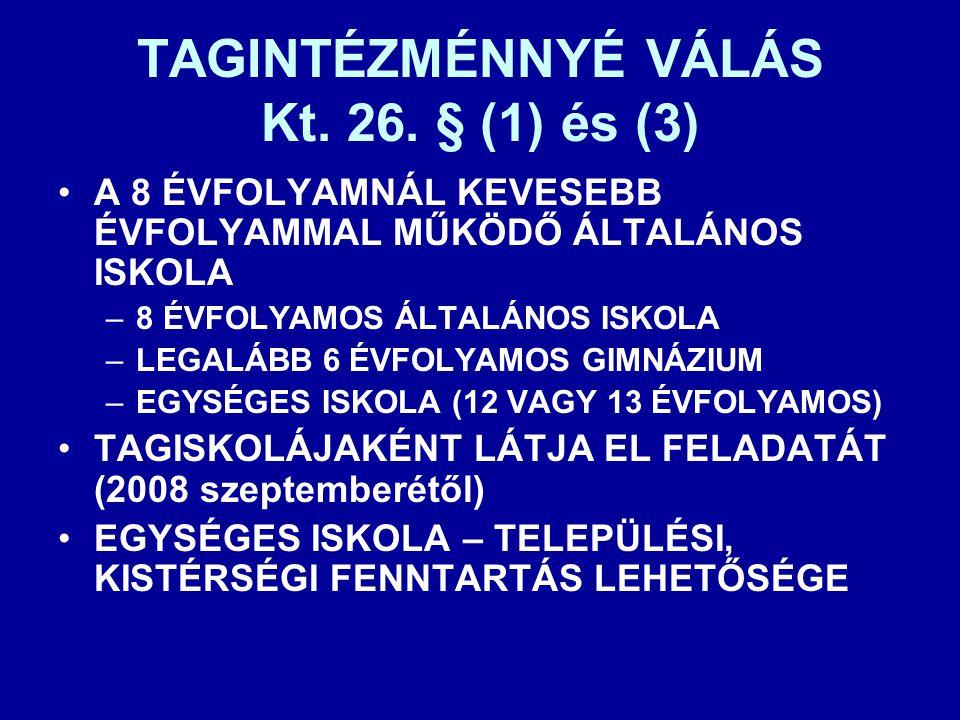 TAGINTÉZMÉNNYÉ VÁLÁS Kt. 26. § (1) és (3) •A 8 ÉVFOLYAMNÁL KEVESEBB ÉVFOLYAMMAL MŰKÖDŐ ÁLTALÁNOS ISKOLA –8 ÉVFOLYAMOS ÁLTALÁNOS ISKOLA –LEGALÁBB 6 ÉVF
