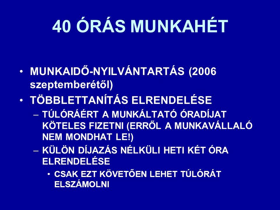 40 ÓRÁS MUNKAHÉT •MUNKAIDŐ-NYILVÁNTARTÁS (2006 szeptemberétől) •TÖBBLETTANÍTÁS ELRENDELÉSE –TÚLÓRÁÉRT A MUNKÁLTATÓ ÓRADÍJAT KÖTELES FIZETNI (ERRŐL A M