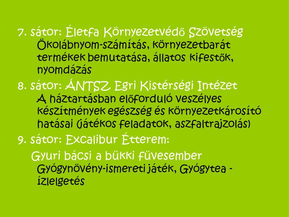 7. sátor: Életfa Környezetvéd ő Szövetség Ökolábnyom-számítás, környezetbarát termékek bemutatása, állatos kifest ő k, nyomdázás 8. sátor: ÁNTSZ Egri