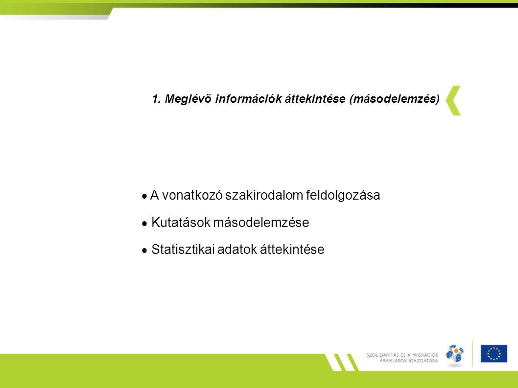 1. Meglévő információk áttekintése (másodelemzés)  A vonatkozó szakirodalom feldolgozása  Kutatások másodelemzése  Statisztikai adatok áttekintése
