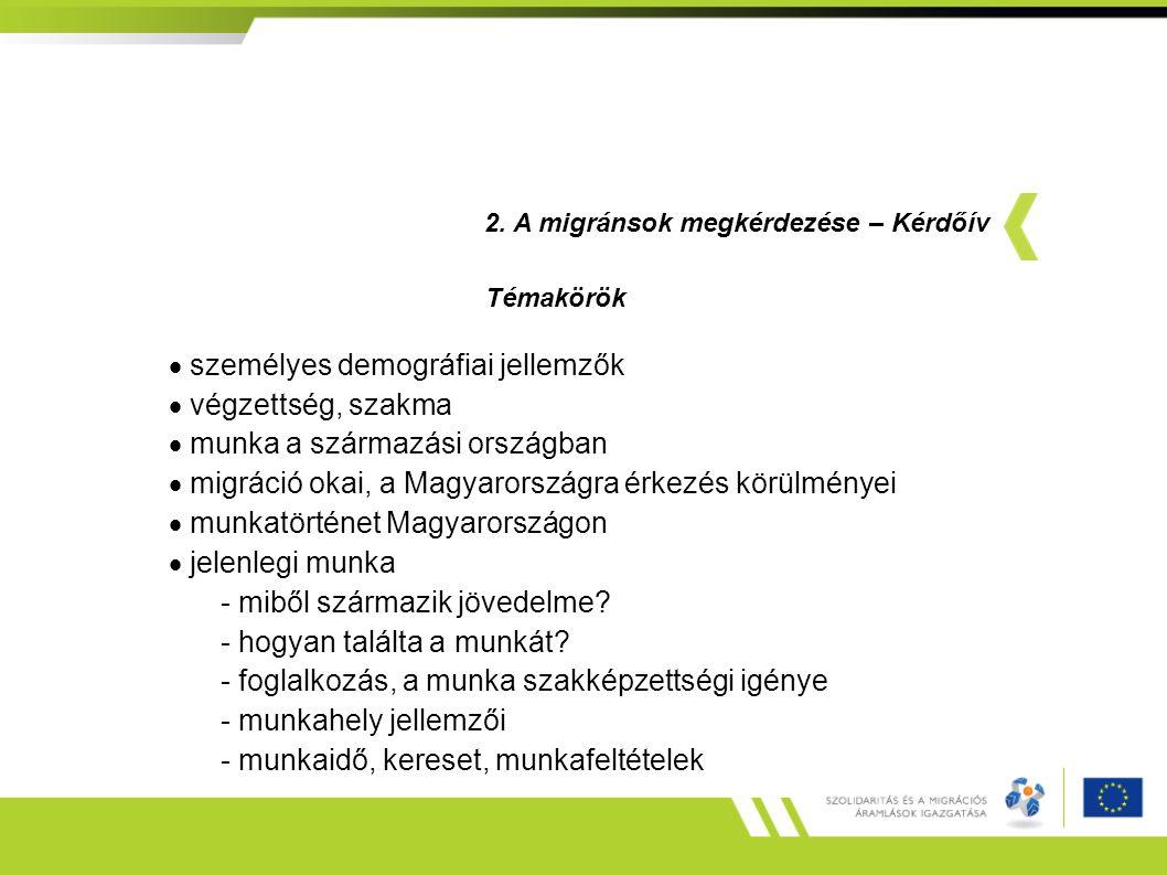  személyes demográfiai jellemzők  végzettség, szakma  munka a származási országban  migráció okai, a Magyarországra érkezés körülményei  munkatörténet Magyarországon  jelenlegi munka - miből származik jövedelme.
