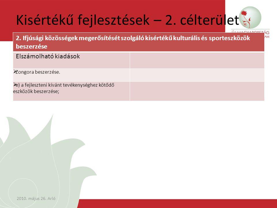 Kisértékű fejlesztések – 2. célterület 2.