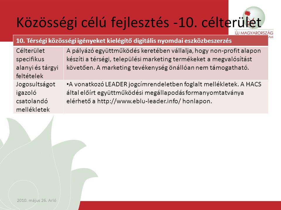 Közösségi célú fejlesztés -10. célterület 10.