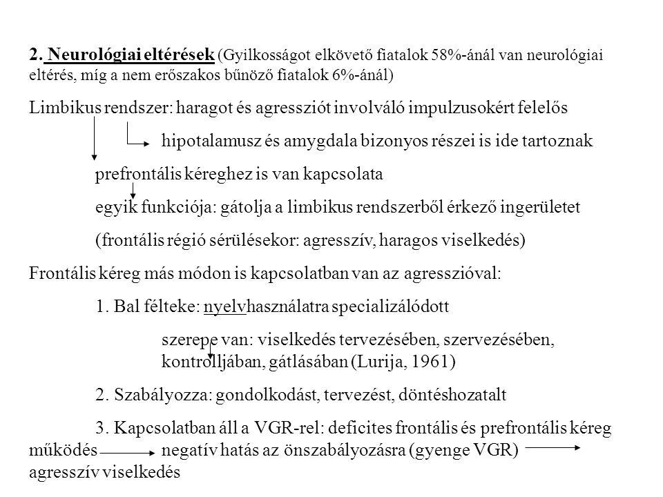 Vizsgálati eredmények: Bűnelkövető fiataloknál: bal féltekei és frontális kérgi diszfunkció (szemben a normál fiatalokkal) A gyilkosságot impulzívan elkövetőknél a prefrontális kérgi területen alacsonyabb glukóz funkció (szemben a tervezett gyilkosságot elkövetőkkel) A 16 hónapos kor előtti prefrontális kéreg sérülést szenvedett gyerekek felnőtt korukra: klasszikus pszichopata viselkedés 3.