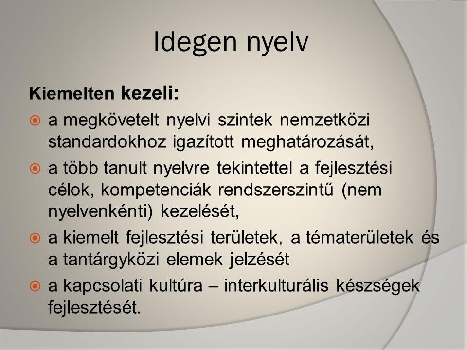 Idegen nyelv Kiemelten kezeli:  a megkövetelt nyelvi szintek nemzetközi standardokhoz igazított meghatározását,  a több tanult nyelvre tekintettel a