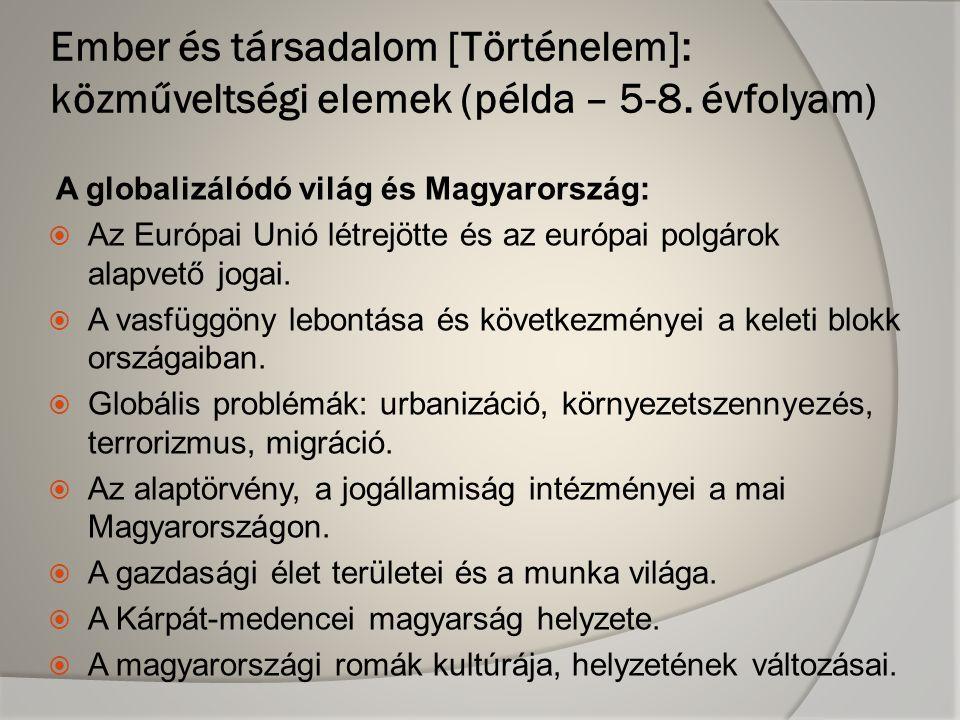A globalizálódó világ és Magyarország:  Az Európai Unió létrejötte és az európai polgárok alapvető jogai.  A vasfüggöny lebontása és következményei