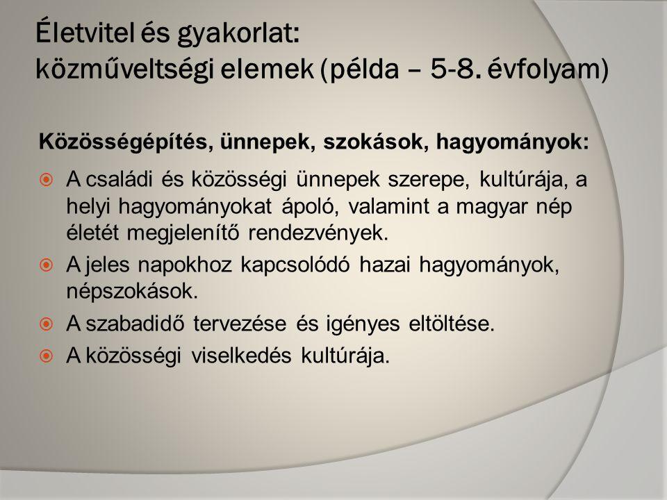 Közösségépítés, ünnepek, szokások, hagyományok:  A családi és közösségi ünnepek szerepe, kultúrája, a helyi hagyományokat ápoló, valamint a magyar nép életét megjelenítő rendezvények.