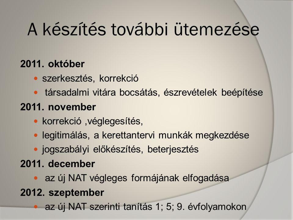 A készítés további ütemezése 2011. október  szerkesztés, korrekció  társadalmi vitára bocsátás, észrevételek beépítése 2011. november  korrekció,vé