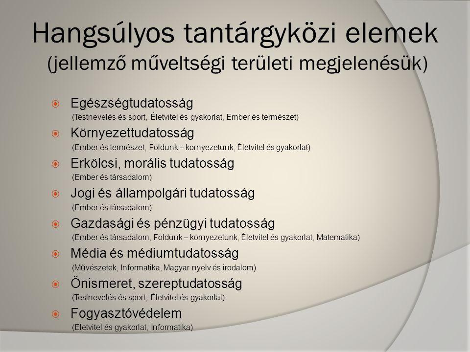 Hangsúlyos tantárgyközi elemek (jellemző műveltségi területi megjelenésük)  Egészségtudatosság (Testnevelés és sport, Életvitel és gyakorlat, Ember é