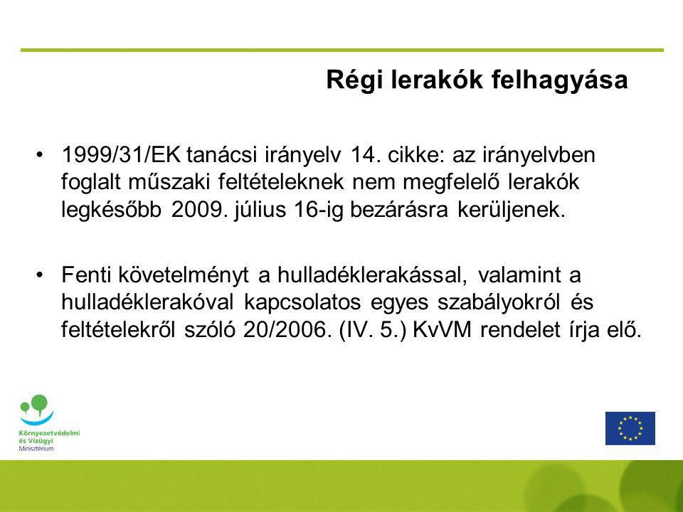 Régi lerakók felhagyása •1999/31/EK tanácsi irányelv 14.