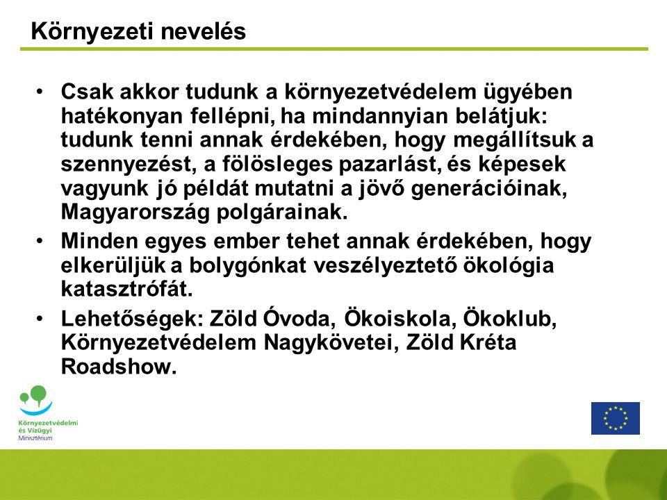 Környezeti nevelés •Csak akkor tudunk a környezetvédelem ügyében hatékonyan fellépni, ha mindannyian belátjuk: tudunk tenni annak érdekében, hogy megállítsuk a szennyezést, a fölösleges pazarlást, és képesek vagyunk jó példát mutatni a jövő generációinak, Magyarország polgárainak.