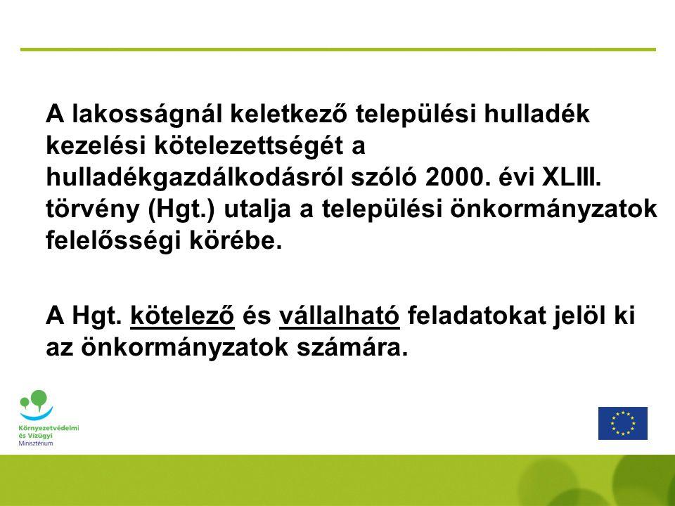 A lakosságnál keletkező települési hulladék kezelési kötelezettségét a hulladékgazdálkodásról szóló 2000.