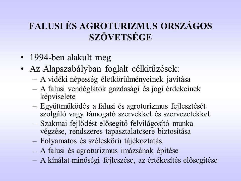 FALUSI ÉS AGROTURIZMUS ORSZÁGOS SZÖVETSÉGE •1994-ben alakult meg •Az Alapszabályban foglalt célkitűzések: –A vidéki népesség életkörülményeinek javítá