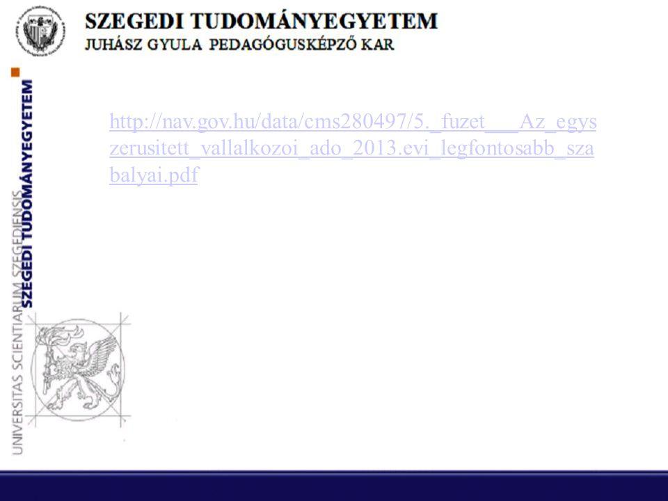 http://nav.gov.hu/data/cms280497/5._fuzet___Az_egys zerusitett_vallalkozoi_ado_2013.evi_legfontosabb_sza balyai.pdf