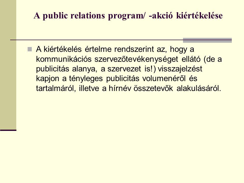 A public relations program/ -akció kiértékelése  A kiértékelés értelme rendszerint az, hogy a kommunikációs szervezőtevékenységet ellátó (de a publicitás alanya, a szervezet is!) visszajelzést kapjon a tényleges publicitás volumenéről és tartalmáról, illetve a hírnév összetevők alakulásáról.