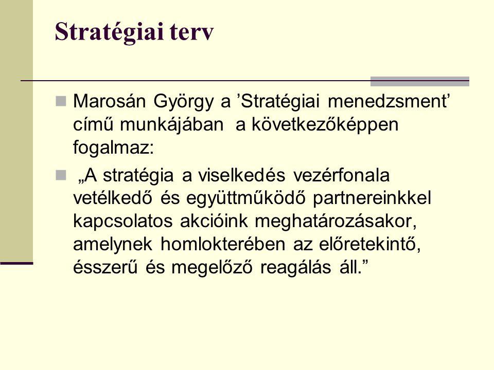 """Stratégiai terv  Marosán György a 'Stratégiai menedzsment' című munkájában a következőképpen fogalmaz:  """"A stratégia a viselkedés vezérfonala vetélkedő és együttműködő partnereinkkel kapcsolatos akcióink meghatározásakor, amelynek homlokterében az előretekintő, ésszerű és megelőző reagálás áll."""
