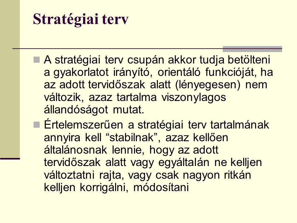 Stratégiai terv  A stratégiai terv csupán akkor tudja betölteni a gyakorlatot irányító, orientáló funkcióját, ha az adott tervidőszak alatt (lényegesen) nem változik, azaz tartalma viszonylagos állandóságot mutat.