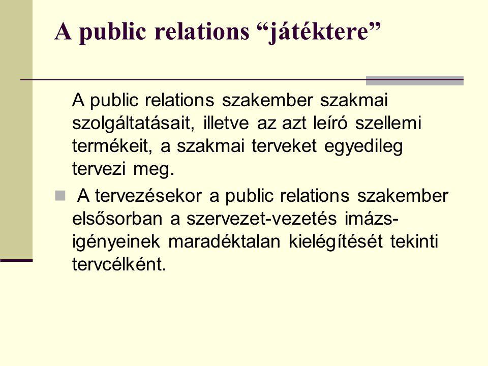 A public relations játéktere A public relations szakember szakmai szolgáltatásait, illetve az azt leíró szellemi termékeit, a szakmai terveket egyedileg tervezi meg.