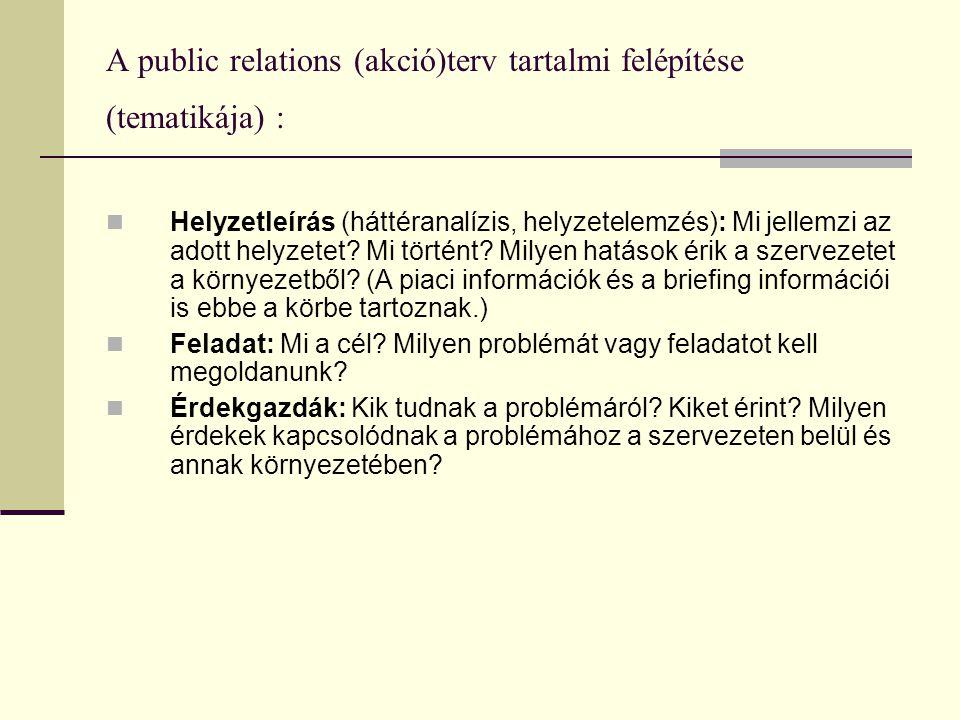 A public relations (akció)terv tartalmi felépítése (tematikája) :  Helyzetleírás (háttéranalízis, helyzetelemzés): Mi jellemzi az adott helyzetet.