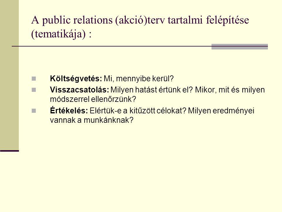 A public relations (akció)terv tartalmi felépítése (tematikája) :  Költségvetés: Mi, mennyibe kerül.