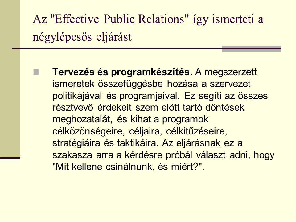 Az Effective Public Relations így ismerteti a négylépcsős eljárást  Tervezés és programkészítés.