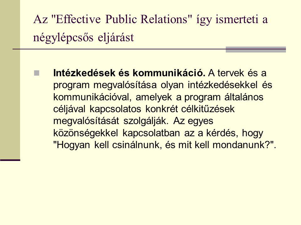 Az Effective Public Relations így ismerteti a négylépcsős eljárást  Intézkedések és kommunikáció.