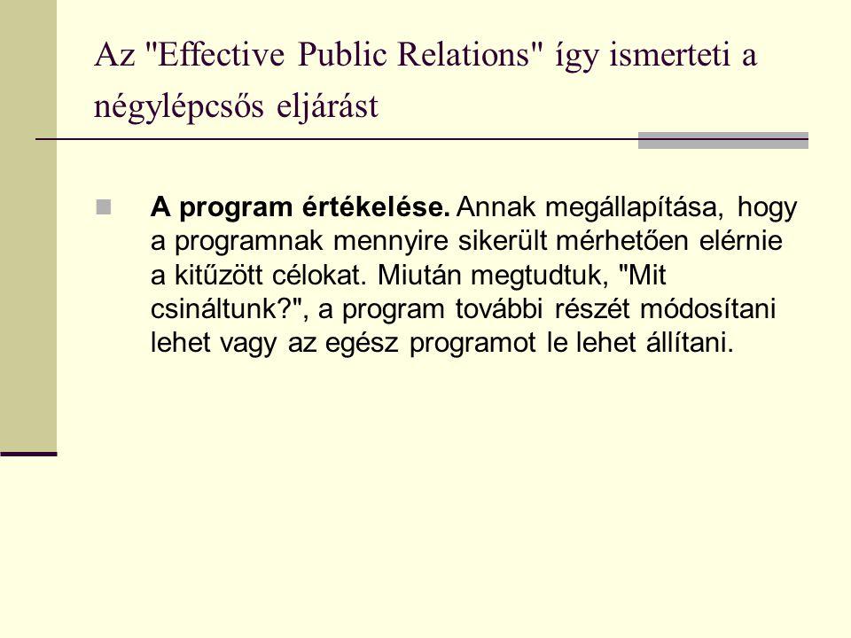 Az Effective Public Relations így ismerteti a négylépcsős eljárást  A program értékelése.