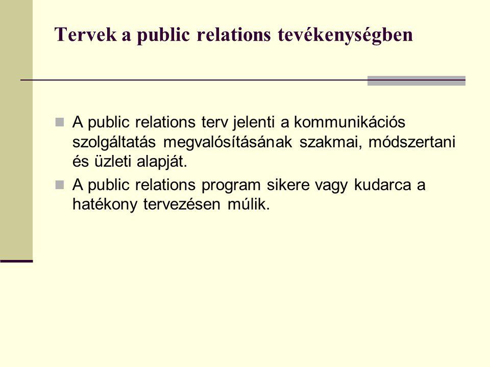 Tervek a public relations tevékenységben  A public relations terv jelenti a kommunikációs szolgáltatás megvalósításának szakmai, módszertani és üzleti alapját.