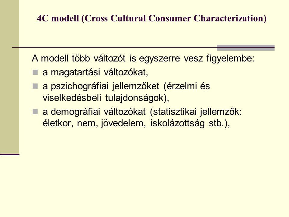 4C modell (Cross Cultural Consumer Characterization) A modell több változót is egyszerre vesz figyelembe:  a magatartási változókat,  a pszichográfiai jellemzőket (érzelmi és viselkedésbeli tulajdonságok),  a demográfiai változókat (statisztikai jellemzők: életkor, nem, jövedelem, iskolázottság stb.),