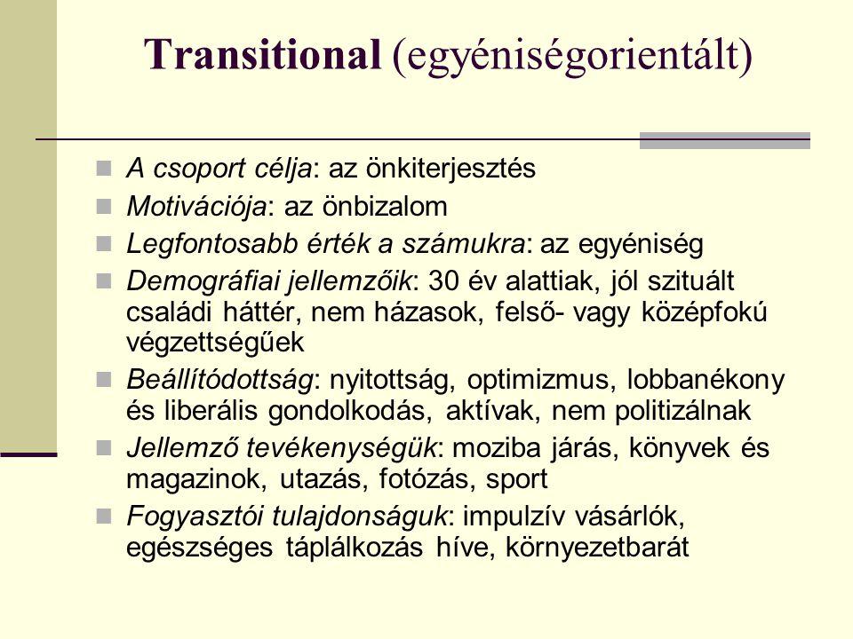 Transitional (egyéniségorientált)  A csoport célja: az önkiterjesztés  Motivációja: az önbizalom  Legfontosabb érték a számukra: az egyéniség  Demográfiai jellemzőik: 30 év alattiak, jól szituált családi háttér, nem házasok, felső- vagy középfokú végzettségűek  Beállítódottság: nyitottság, optimizmus, lobbanékony és liberális gondolkodás, aktívak, nem politizálnak  Jellemző tevékenységük: moziba járás, könyvek és magazinok, utazás, fotózás, sport  Fogyasztói tulajdonságuk: impulzív vásárlók, egészséges táplálkozás híve, környezetbarát