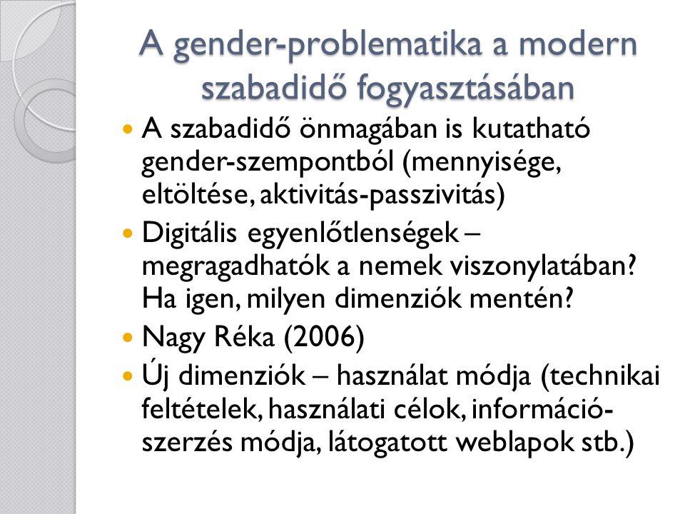 A gender-problematika a modern szabadidő fogyasztásában  A szabadidő önmagában is kutatható gender-szempontból (mennyisége, eltöltése, aktivitás-passzivitás)  Digitális egyenlőtlenségek – megragadhatók a nemek viszonylatában.