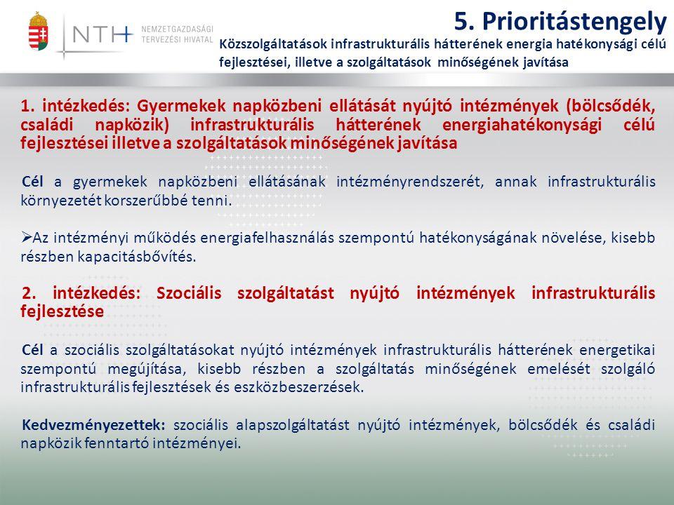 5. Prioritástengely Közszolgáltatások infrastrukturális hátterének energia hatékonysági célú fejlesztései, illetve a szolgáltatások minőségének javítá