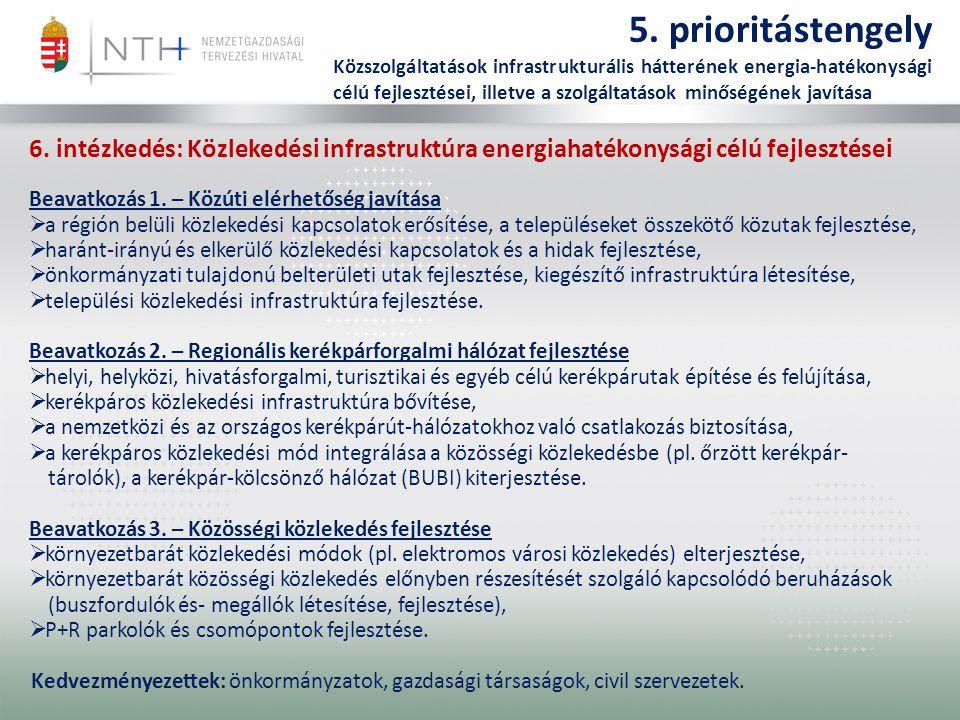 5. prioritástengely Közszolgáltatások infrastrukturális hátterének energia-hatékonysági célú fejlesztései, illetve a szolgáltatások minőségének javítá