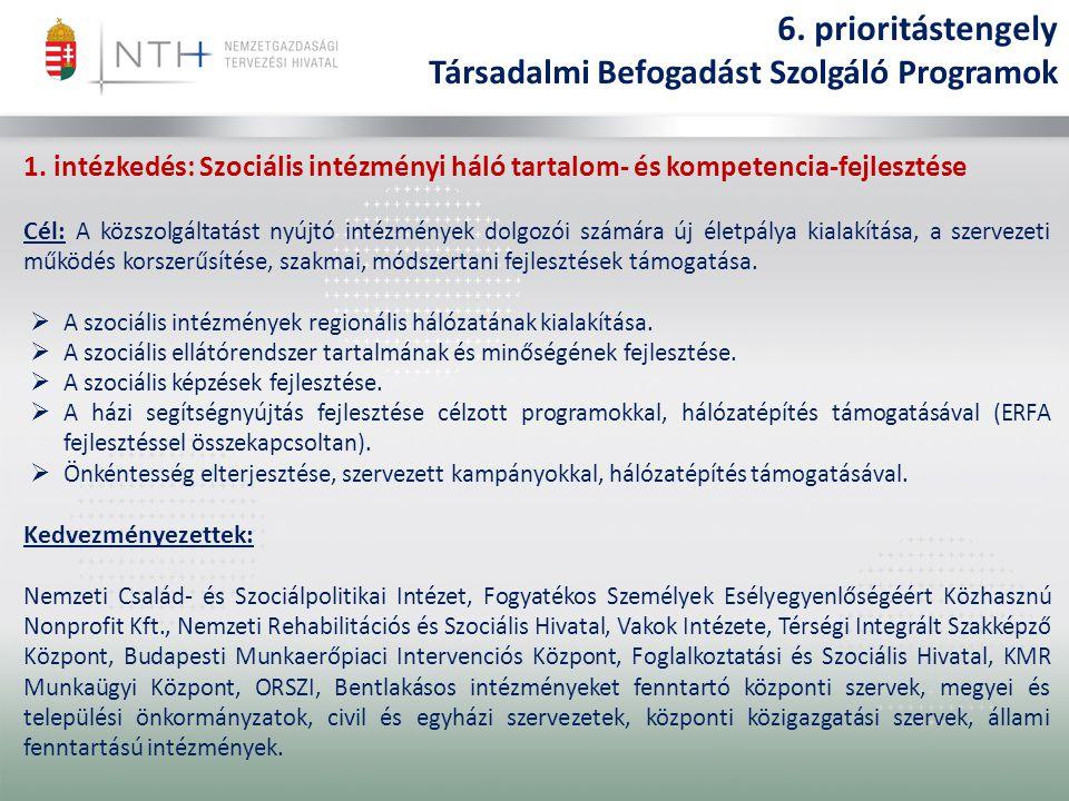1. intézkedés: Szociális intézményi háló tartalom- és kompetencia-fejlesztése Cél: A közszolgáltatást nyújtó intézmények dolgozói számára új életpálya