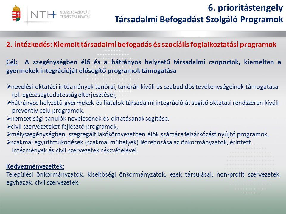 2. intézkedés: Kiemelt társadalmi befogadás és szociális foglalkoztatási programok Cél: A szegénységben élő és a hátrányos helyzetű társadalmi csoport