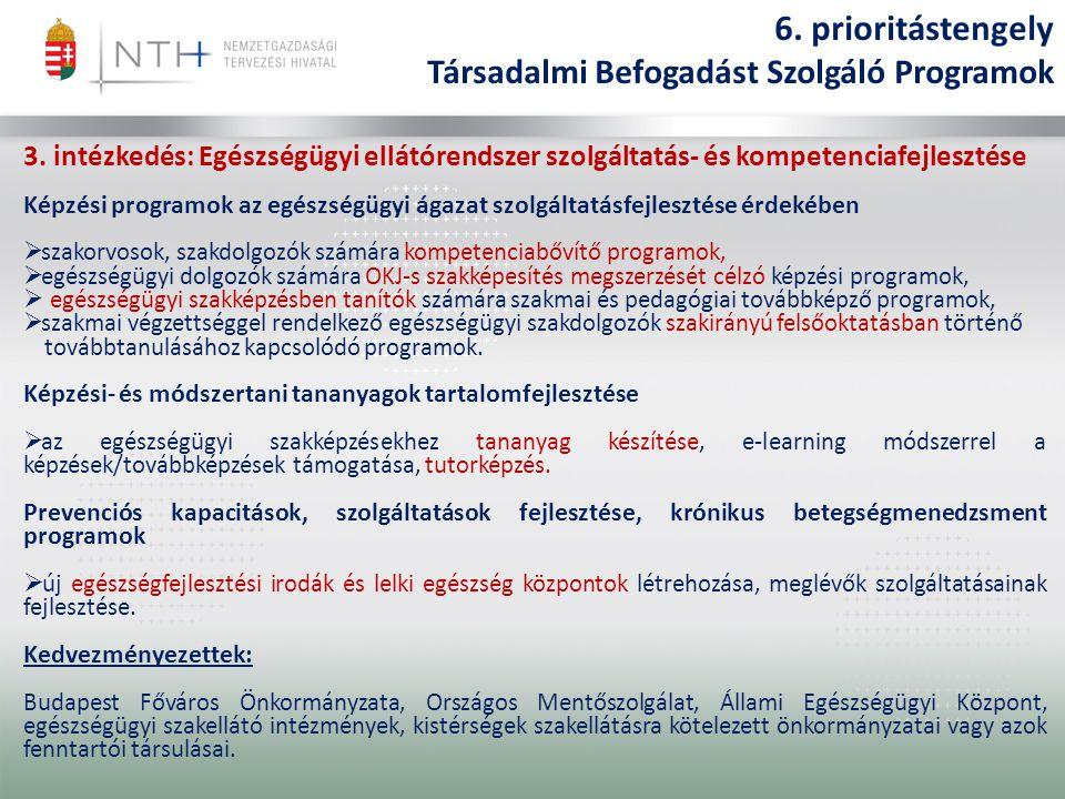 3. intézkedés: Egészségügyi ellátórendszer szolgáltatás- és kompetenciafejlesztése Képzési programok az egészségügyi ágazat szolgáltatásfejlesztése ér