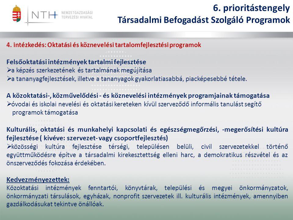 4. intézkedés: Oktatási és köznevelési tartalomfejlesztési programok Felsőoktatási intézmények tartalmi fejlesztése  a képzés szerkezetének és tartal