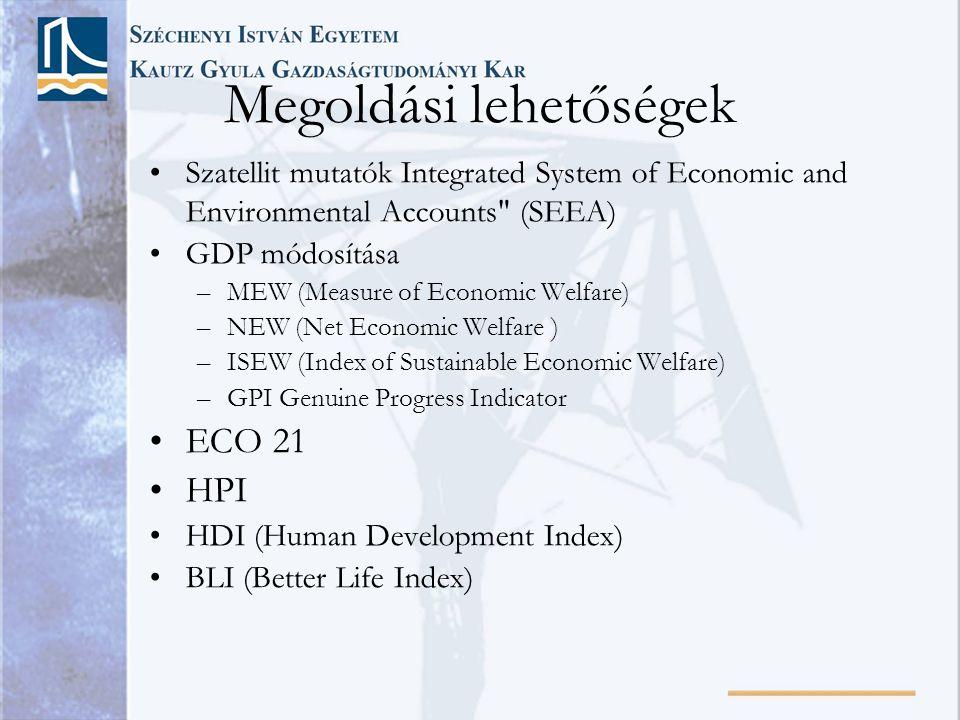 Megoldási lehetőségek •Szatellit mutatók Integrated System of Economic and Environmental Accounts (SEEA) •GDP módosítása –MEW (Measure of Economic Welfare) –NEW (Net Economic Welfare ) –ISEW (Index of Sustainable Economic Welfare) –GPI Genuine Progress Indicator •ECO 21 •HPI •HDI (Human Development Index) •BLI (Better Life Index)