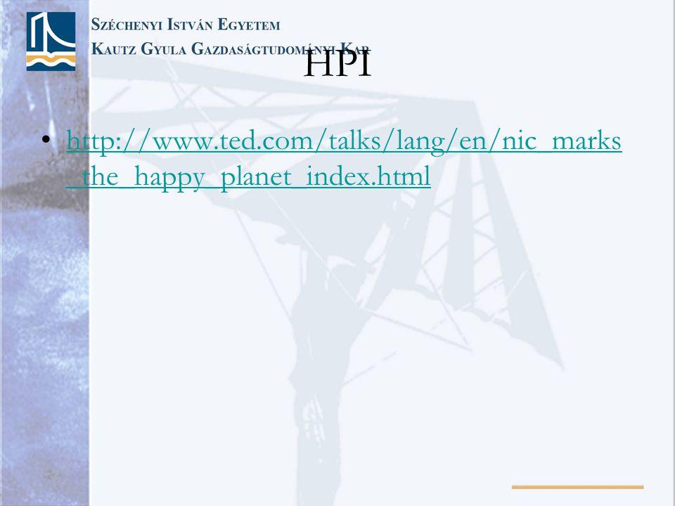 HPI •http://www.ted.com/talks/lang/en/nic_marks _the_happy_planet_index.htmlhttp://www.ted.com/talks/lang/en/nic_marks _the_happy_planet_index.html