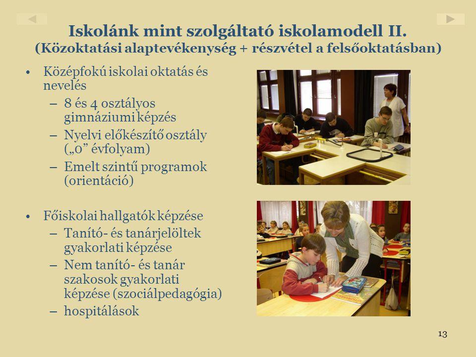 13 Iskolánk mint szolgáltató iskolamodell II. (Közoktatási alaptevékenység + részvétel a felsőoktatásban) •Középfokú iskolai oktatás és nevelés –8 és