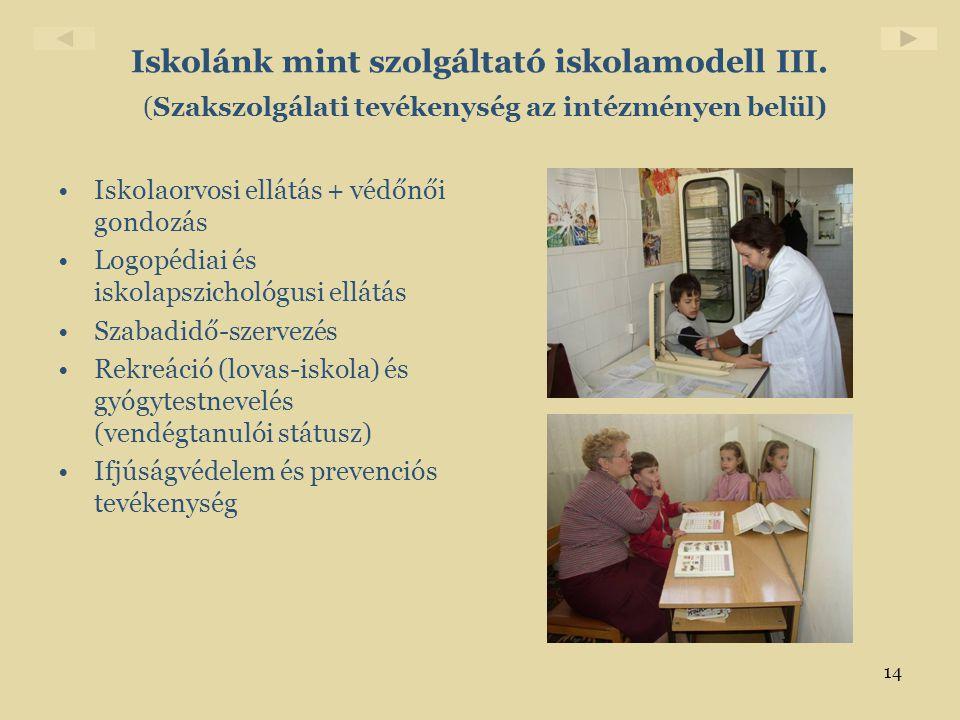 14 Iskolánk mint szolgáltató iskolamodell III. (Szakszolgálati tevékenység az intézményen belül) •Iskolaorvosi ellátás + védőnői gondozás •Logopédiai