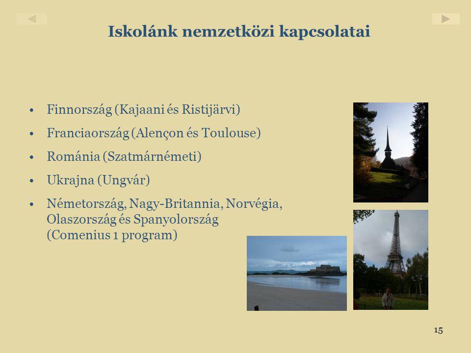 15 Iskolánk nemzetközi kapcsolatai •Finnország (Kajaani és Ristijärvi) •Franciaország (Alençon és Toulouse) •Románia (Szatmárnémeti) •Ukrajna (Ungvár)