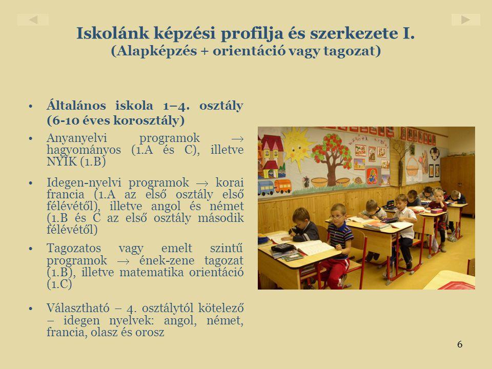 6 Iskolánk képzési profilja és szerkezete I. (Alapképzés + orientáció vagy tagozat) •Általános iskola 1–4. osztály (6-10 éves korosztály) •Anyanyelvi