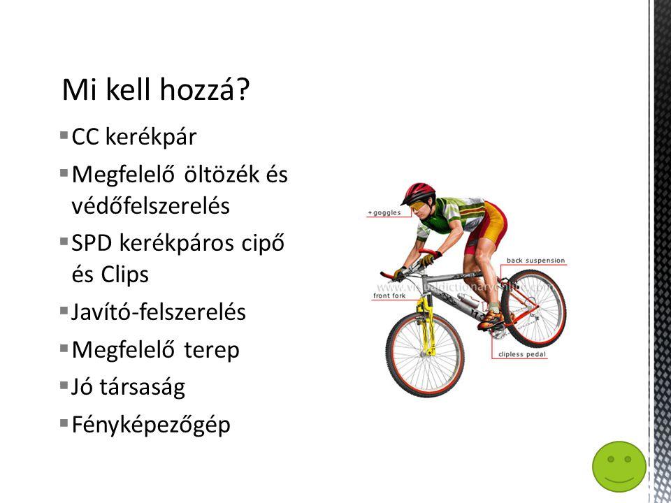  CC kerékpár  Megfelelő öltözék és védőfelszerelés  SPD kerékpáros cipő és Clips  Javító-felszerelés  Megfelelő terep  Jó társaság  Fényképezőgép