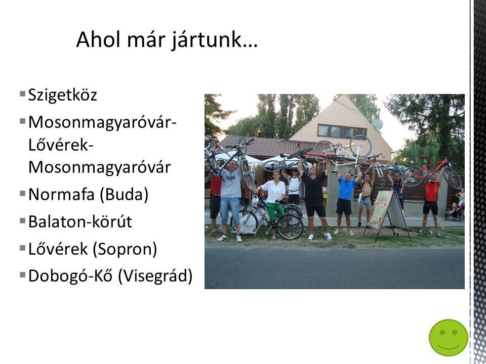  Szigetköz  Mosonmagyaróvár- Lővérek- Mosonmagyaróvár  Normafa (Buda)  Balaton-körút  Lővérek (Sopron)  Dobogó-Kő (Visegrád)