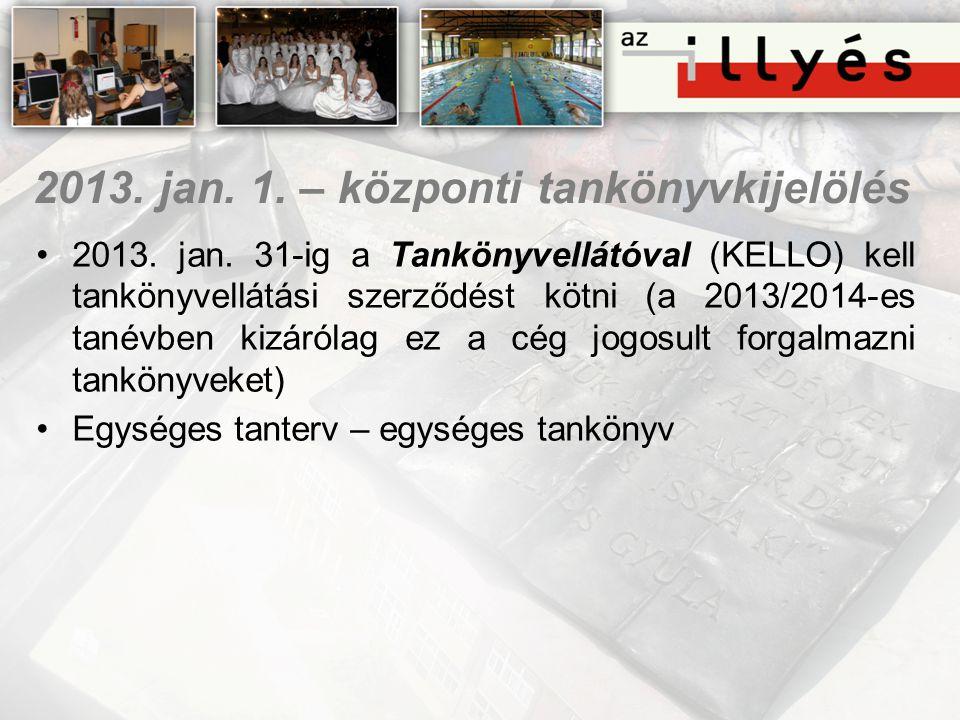 2013. jan. 1. – központi tankönyvkijelölés •2013. jan. 31-ig a Tankönyvellátóval (KELLO) kell tankönyvellátási szerződést kötni (a 2013/2014-es tanévb