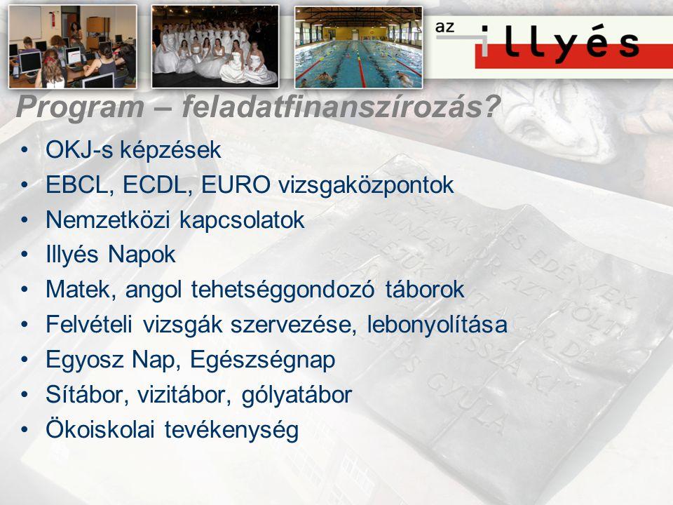 Program – feladatfinanszírozás? •OKJ-s képzések •EBCL, ECDL, EURO vizsgaközpontok •Nemzetközi kapcsolatok •Illyés Napok •Matek, angol tehetséggondozó